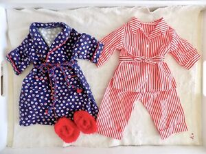 AMERICAN GIRL Molly Pajama Set - Red Striped PJs, Flannel Robe, Fluffy Slippers