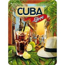 Cuba Libre Cocktail Rum Tiki Bar Pub Drink Retro Small 3D Metal Embossed Sign