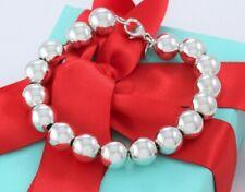"Tiffany & Co Sterling Silver HardWear 10mm Bead Bracelet 7.5"" and Pouch Hardware"