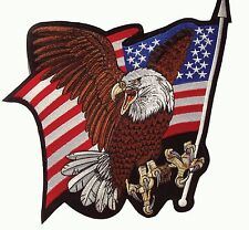 "American Flag USA Flag Eagle Large Patch 14""x10"" NEW USA SHIPPER"