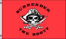 Piraten Totenkopf gekreuzt Sabres Surrender The Booty Rot 5' x 3' Flagge