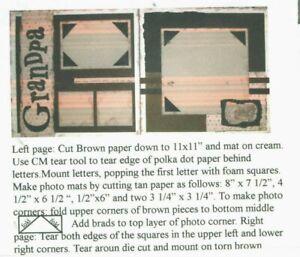Grandpa Paper Raffia Sample Ribbon Paper Piecing Scrapbook Page Kit 12 x 12