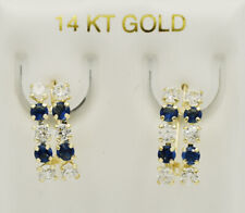 BLUE & WHITE SAPPHIRES DANGLING EARRINGS 14k Yellow Gold ** NEW WITH TAG