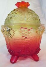 Vintage Amberina Jeannette Glass Red Yellow Grape Vine Footed Candy Dish & Lid