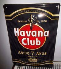 """HAVANA CLUB CUBAN RUM, EMBOSSED(3D)  VINTAGE-STYLE SIGN, 12""""X 8"""" 30X20cm, BLACK"""