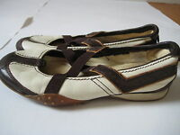 Pony white & brown leather Mary Jane FLATS shoes driving moccasin womens Size 6