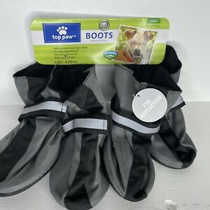 TOP PAW Non-Skid Rubber Bottom Dog Boots Water Resistant Reflective Strap Size L