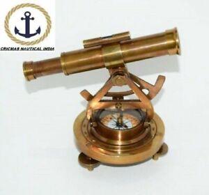 Nautical Brass Theodolite Alidade Telescope Compass  Gift Item 5 inch,Brown