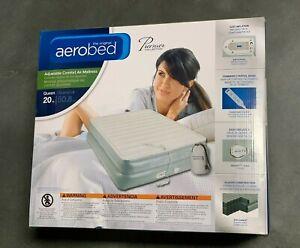 """Aerobed Premier 3-Layer 20"""" High Queen Air Mattress w Built-In Pump   Dmg Box 4"""