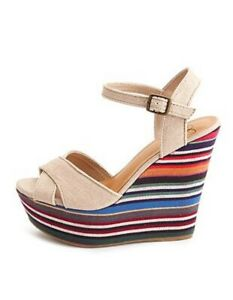 Charlotte Russe Multi-Color Striped Wedge Heals Size 7.5