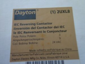 Dayton 2UXL8 Reversing Contactor 3 Pole 9 Amp. 24 VAC