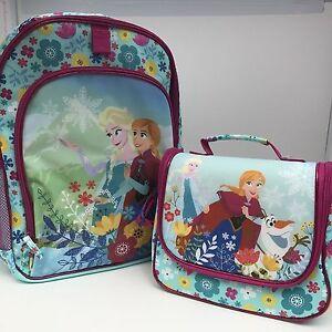Disney Store Frozen Anna Elsa Backpack Lunch Tote Box School Book Bag Flowers