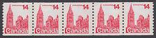 Canada - #730 14c Parliament Buildings Coil Strip Of Five - MNH