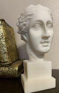 "Hygeia Greek Goddess Of Good Health Alabaster Handmade Statue Bust 5.7"" Tall"