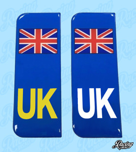 Domed Union Jack UK Vehicle Number Plate Stickers - 39mm - HIGH GLOSS DOMED GEL