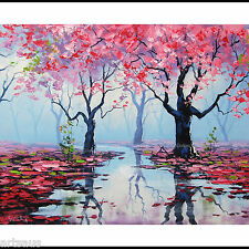 Palette Knife Large Oil Painting Pink Blossom Trees Spring River Landscape