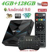Lot HK1 SUPER TV Box 4G+128GB Quad Core Dual WiFi RK3318 4K Android 9.0 Keyboard