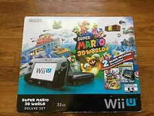 NEW Nintendo Wii U Super Mario 3D World Deluxe Set 32gb Black Console System