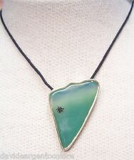 Ciondolo in ARGENTO 925 con AGATA naturale verde e girocollo - pietra dura -