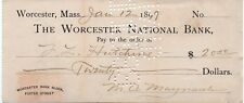 Old 1899 Check - Worcester National Bank - Massachusetts