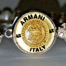 Armani Gold Button Bracelet in Sterling Silver with Freshwater Pearls