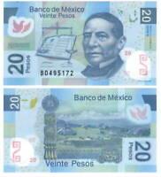MEXICO 20 Pesos (2012) P-98s S Series B Prefix UNC POLYMER Banknote Paper Money