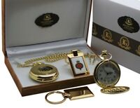 GRENADIER GUARDS POCKET WATCH and Keyring 24K Gold Plate ARMY MILITARY Gift Set