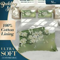 Falling Petals Chinoiserie Green Quilt Doona Cover Sets Fine Breathable Cotton