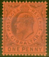Gibraltar 1903 1d Dull Purple-Red SG47 Fine & Fresh Very Lightly Mtd Mint