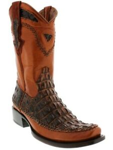 Men'S Honey Brown Exotic Style Crocodile Alligator Cowboy Boots Square Toe