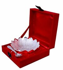 Silver Plated Floral Shaped Bowl  & Spoon Set  with Velvet Box