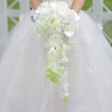 Gorgeous Calla Lily Pearls Waterfall Style Wedding Bridal Bouquet Bride Flower