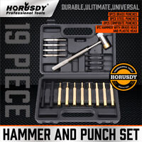 19PC Hammer & Punch Set Brass Steel Plastic Punches Gunsmithing Maintenance Case