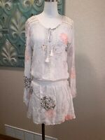 Love Stitch BOHO TUNIC DRESS Crochet Floral Print Tassels SIZE M