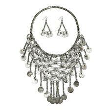 784838a8e08b Declaración collar largo Moneda De Volantes Plata conjunto gitano Vintage  Joyería tribal