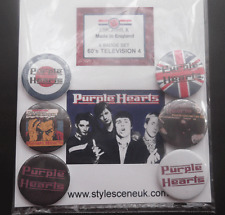 Mod : The Purple Hearts 25mm 6 Button Badge Set, mod revival