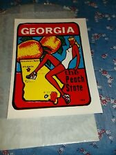Vintage Dip Decal  Georgia The Peach State Bathing Beauty Windshield Luggage