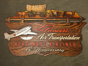 1941 Northwest Airlines Pioneers Air Transportation 15th Anniversary Sign Award