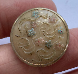 """Antique Vintage Caramel Glass Button With Gold Luster & Enamel Flowers 7/8"""""""