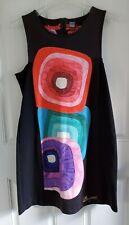 Desigual Rhina Dress Art To Wear Color Squares Black Dress Square Neck Womens XL