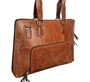 Mens Laptop Messenger Bag Brown Minimalist Satchel Briefcase 13 Inch Real