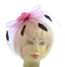 Cappello Fascinator con rosa con velo e piuma fascia, Matrimoni, Gare, Donna Giorno