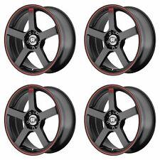 4x Motegi 16x7 MR116 Wheels Matte Black Red Stripe 5x4.5 5x100 5x114.3 +40mm