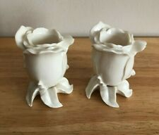 Lenox Rose Buds Flower Taper Candle Holders Set Of Two
