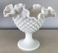 """White Fenton Bowl on Pedestal Vintage Ruffle Edge Hobnail Milk Glass 5.5 x 6.5"""""""
