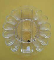 NOS Vintage L. E. Smith Clear Glass Deviled Egg, Oyster, and Relish Dish 11""