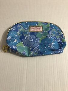 New Lilly Pulitzer Estee Lauder Cosmetic Bag Blue Flowers