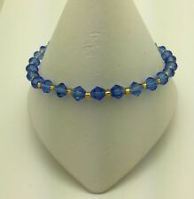 Ankle Anklet Bracelet Sapphire and Gold Stretch