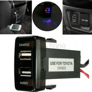 for Toyota Dual USB Audio Charger Port Prado 120 Hilux Land Cruiser 100 Series