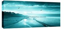 TEAL SUNSET SEA BEACH CANVAS PICTURE  SEASCAPE WALL ART  BOX  113 CM x 52CM